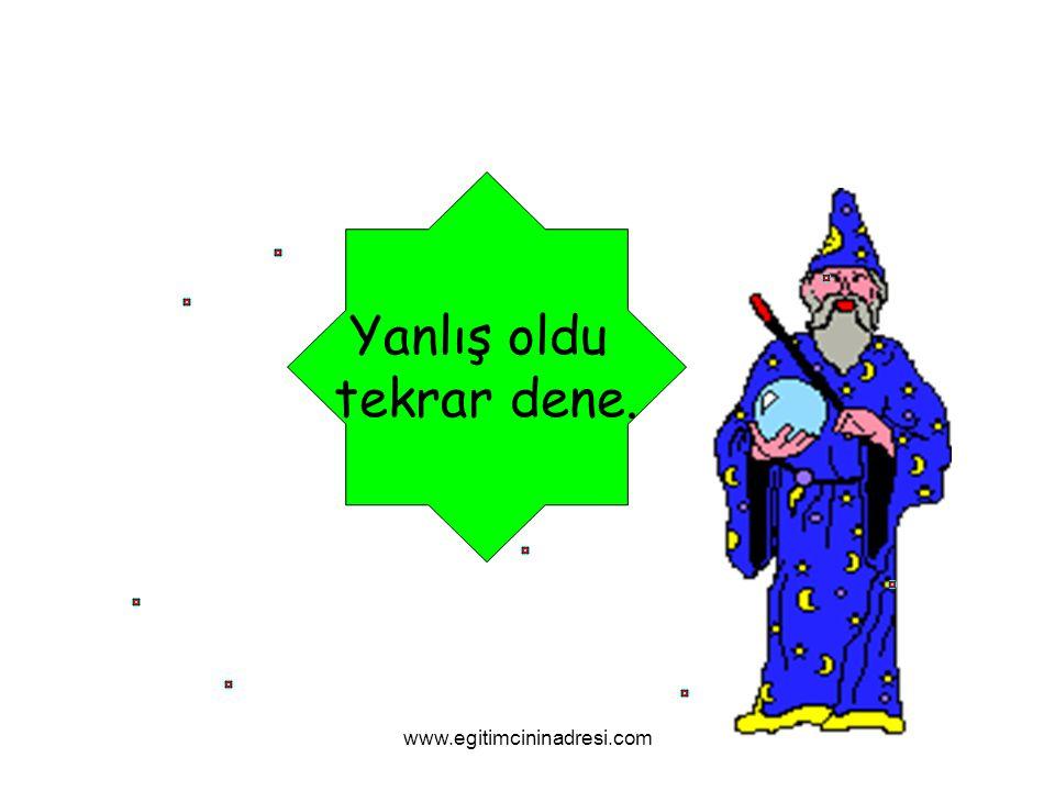 Yanlış oldu tekrar dene. www.egitimcininadresi.com