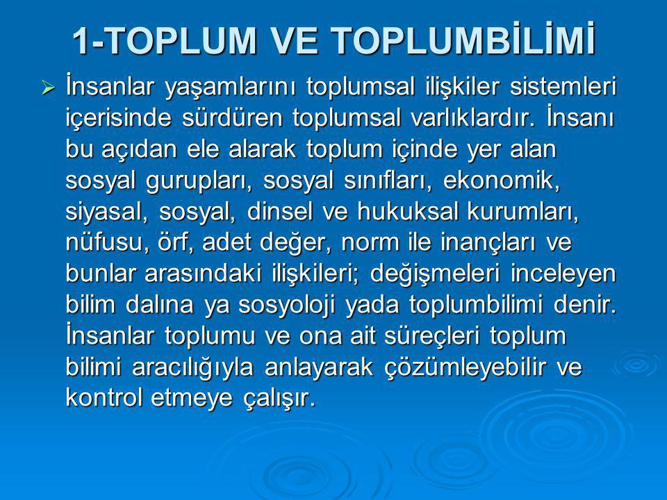 1-TOPLUM VE TOPLUMBİLİMİ