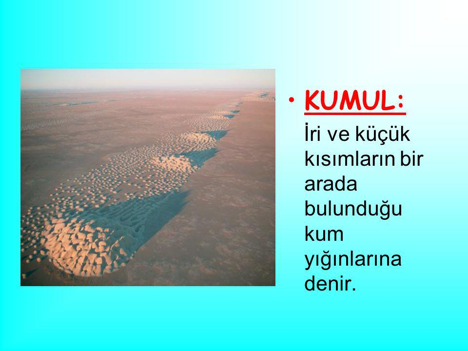 KUMUL: İri ve küçük kısımların bir arada bulunduğu kum yığınlarına denir.