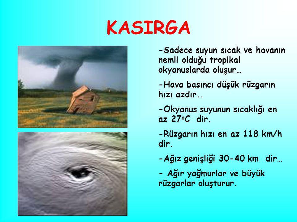 KASIRGA -Sadece suyun sıcak ve havanın nemli olduğu tropikal okyanuslarda oluşur… -Hava basıncı düşük rüzgarın hızı azdır..