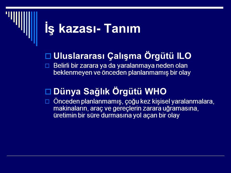 İş kazası- Tanım Uluslararası Çalışma Örgütü ILO
