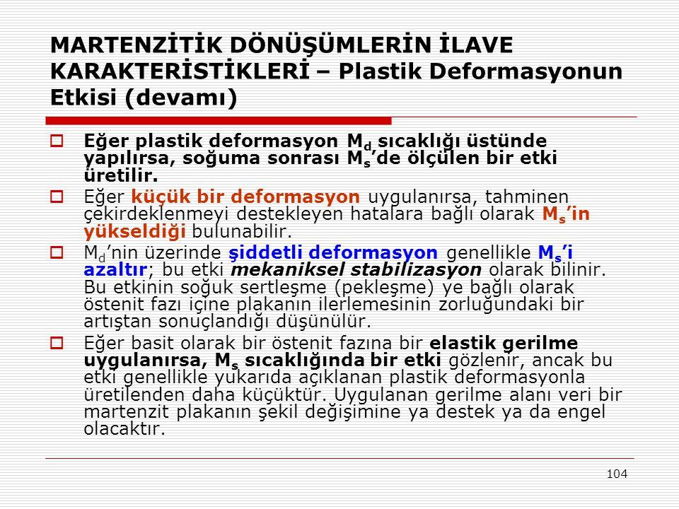 MARTENZİTİK DÖNÜŞÜMLERİN İLAVE KARAKTERİSTİKLERİ – Plastik Deformasyonun Etkisi (devamı)