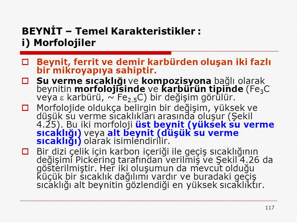 BEYNİT – Temel Karakteristikler : i) Morfolojiler