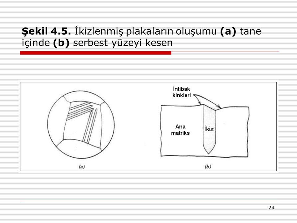 Şekil 4.5. İkizlenmiş plakaların oluşumu (a) tane içinde (b) serbest yüzeyi kesen