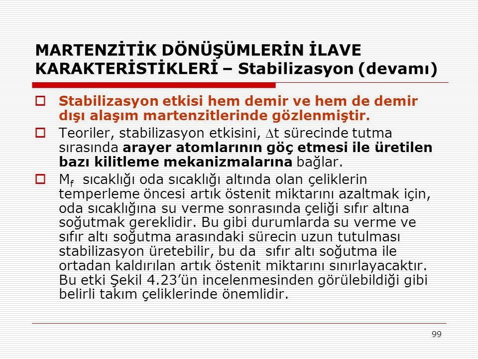MARTENZİTİK DÖNÜŞÜMLERİN İLAVE KARAKTERİSTİKLERİ – Stabilizasyon (devamı)