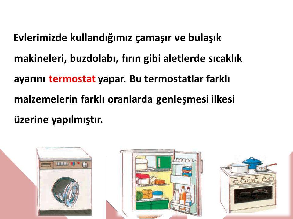 Evlerimizde kullandığımız çamaşır ve bulaşık makineleri, buzdolabı, fırın gibi aletlerde sıcaklık ayarını termostat yapar.