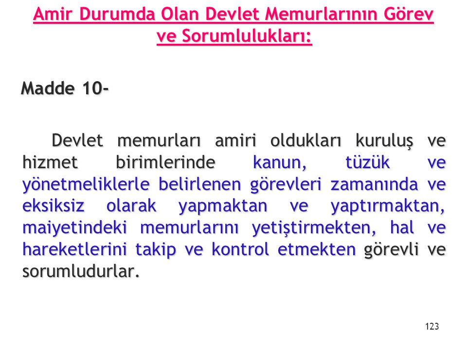 Amir Durumda Olan Devlet Memurlarının Görev ve Sorumlulukları: