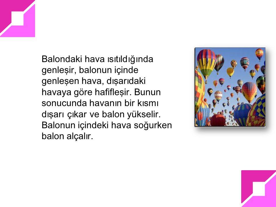 Balondaki hava ısıtıldığında genleşir, balonun içinde genleşen hava, dışarıdaki havaya göre hafifleşir.