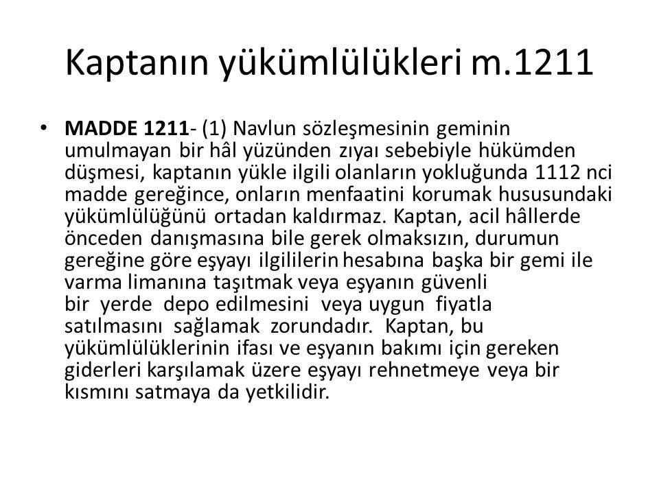 Kaptanın yükümlülükleri m.1211