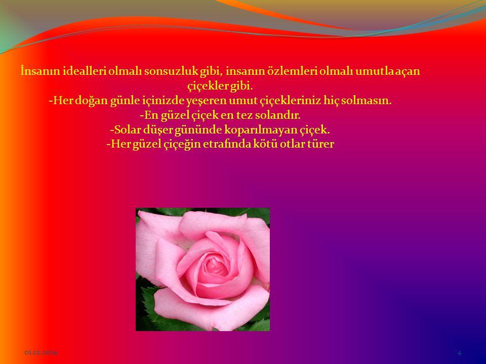 İnsanın idealleri olmalı sonsuzluk gibi, insanın özlemleri olmalı umutla açan çiçekler gibi. -Her doğan günle içinizde yeşeren umut çiçekleriniz hiç solmasın. -En güzel çiçek en tez solandır. -Solar düşer gününde koparılmayan çiçek. -Her güzel çiçeğin etrafında kötü otlar türer