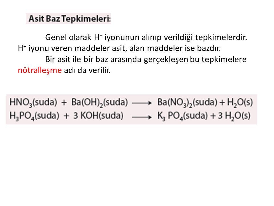 Genel olarak H+ iyonunun alınıp verildiği tepkimelerdir.