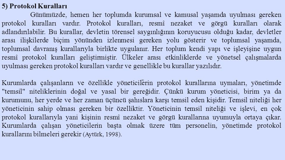 5) Protokol Kuralları