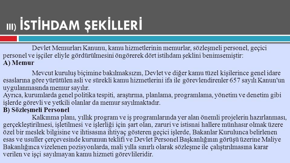 III) İSTİHDAM ŞEKİLLERİ