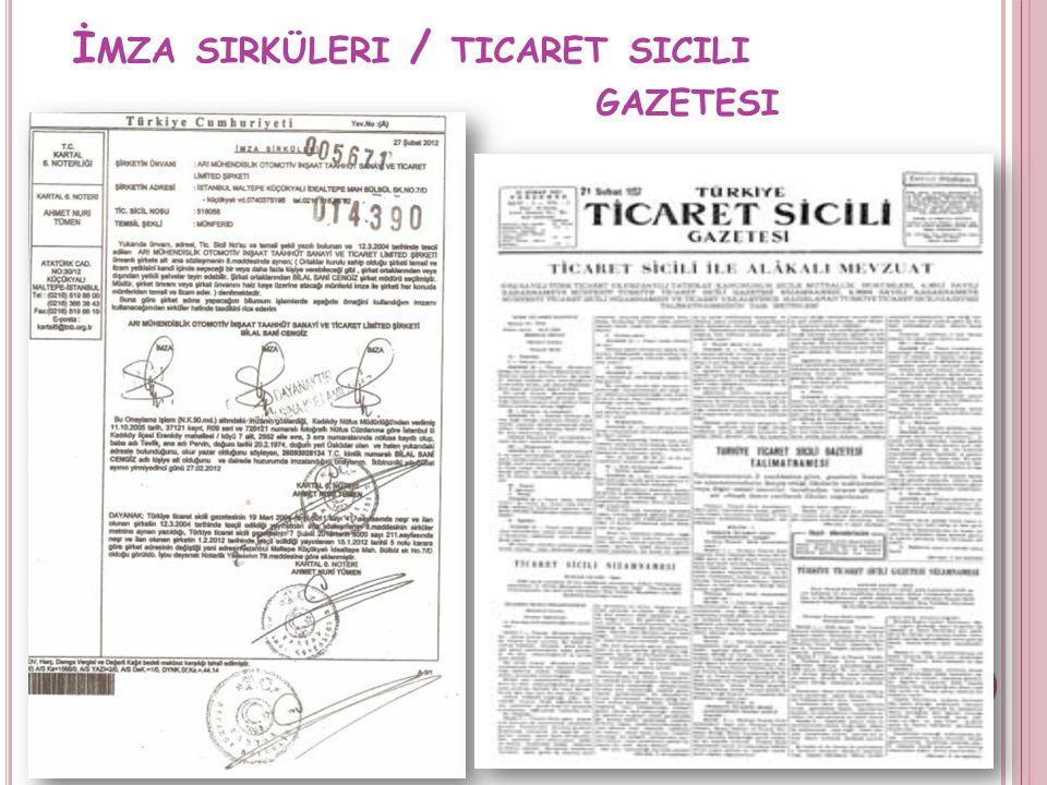 İmza sirküleri / ticaret sicili gazetesi