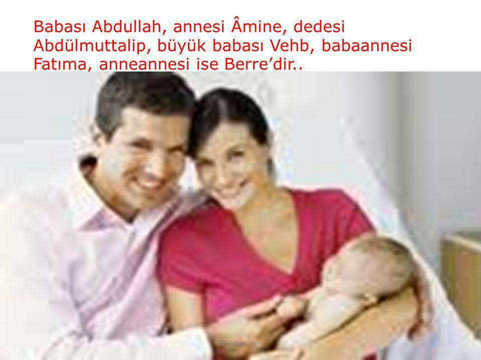 Babası Abdullah, annesi Âmine, dedesi Abdülmuttalip, büyük babası Vehb, babaannesi Fatıma, anneannesi ise Berre'dir..