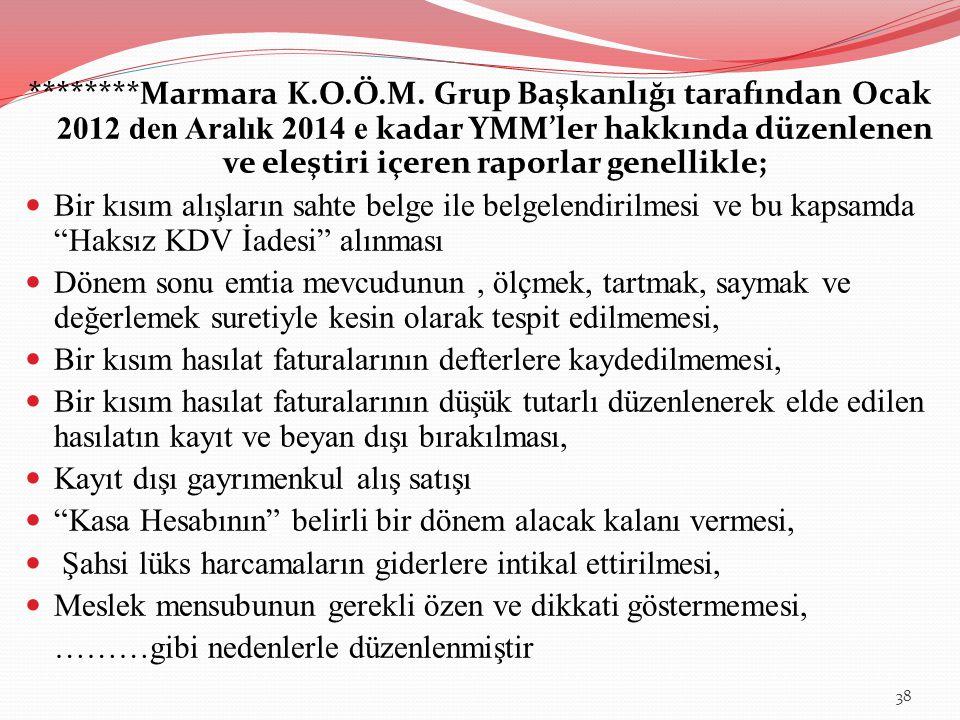 ********Marmara K.O.Ö.M. Grup Başkanlığı tarafından Ocak 2012 den Aralık 2014 e kadar YMM'ler hakkında düzenlenen ve eleştiri içeren raporlar genellikle;