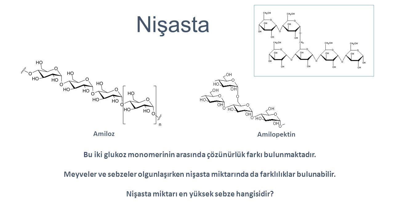 Nişasta Amiloz. Amilopektin. Bu iki glukoz monomerinin arasında çözünürlük farkı bulunmaktadır.