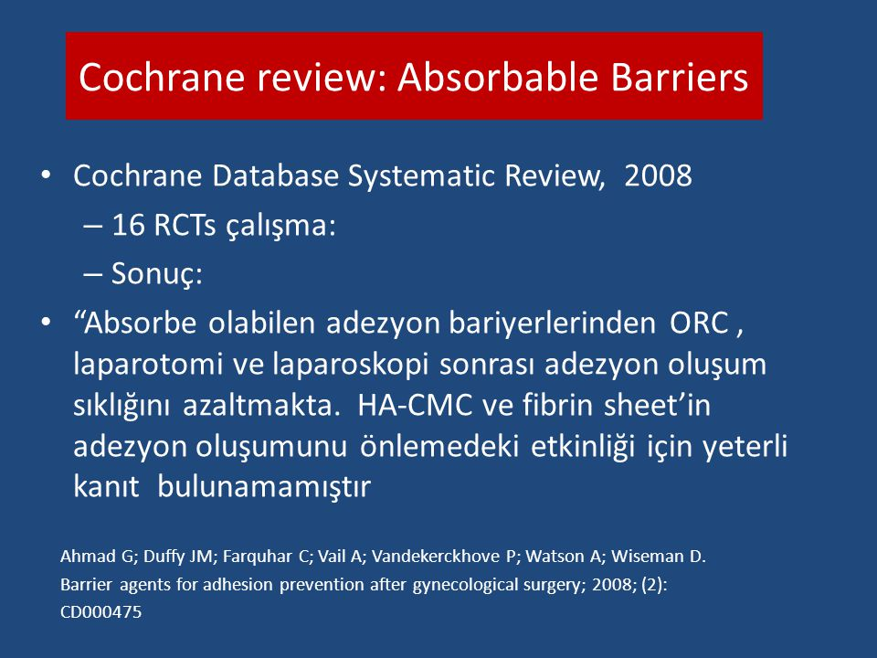 Cochrane review: Absorbable Barriers