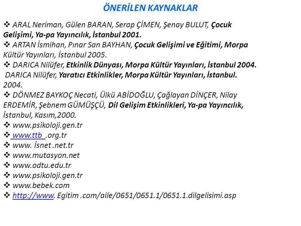ÖNERİLEN KAYNAKLAR ARAL Neriman, Gülen BARAN, Serap ÇİMEN, Şenay BULUT, Çocuk. Gelişimi, Ya-pa Yayıncılık, İstanbul 2001.