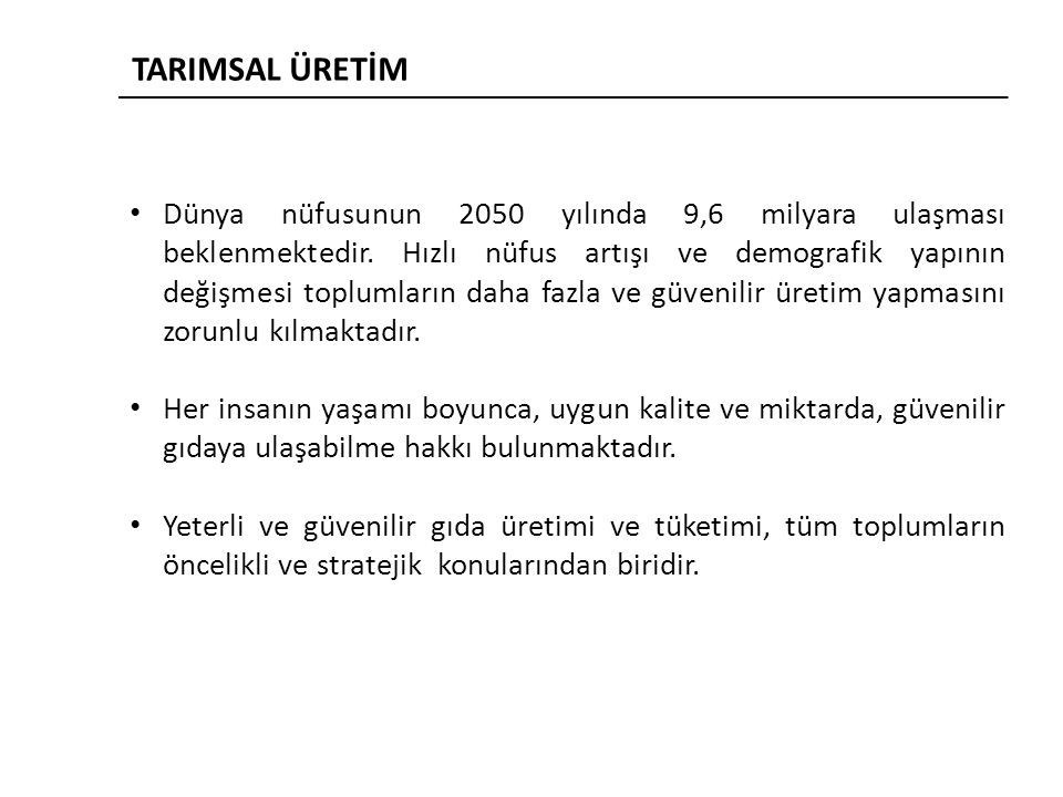 TARIMSAL ÜRETİM
