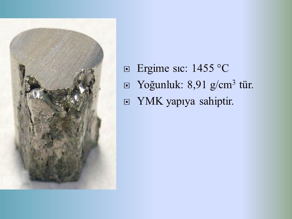 Ergime sıc: 1455 °C Yoğunluk: 8,91 g/cm3 tür. YMK yapıya sahiptir.