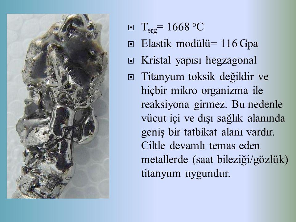 Terg= 1668 oC Elastik modülü= 116 Gpa. Kristal yapısı hegzagonal.