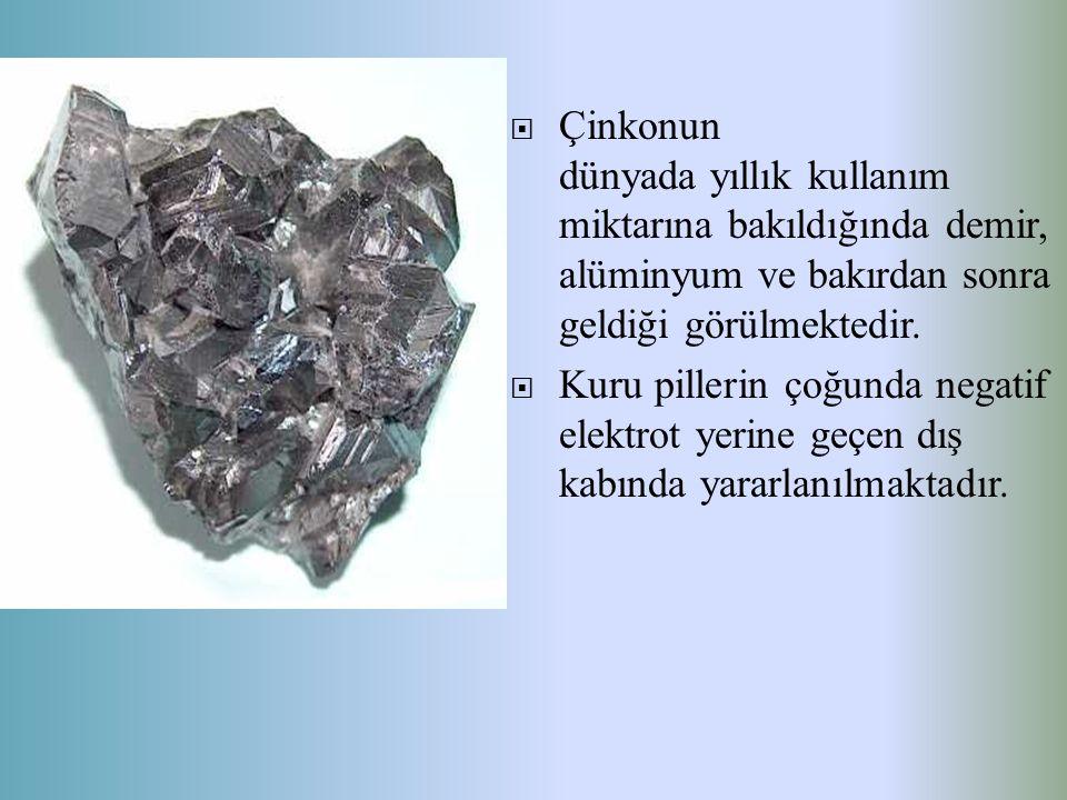 Çinkonun dünyada yıllık kullanım miktarına bakıldığında demir, alüminyum ve bakırdan sonra geldiği görülmektedir.