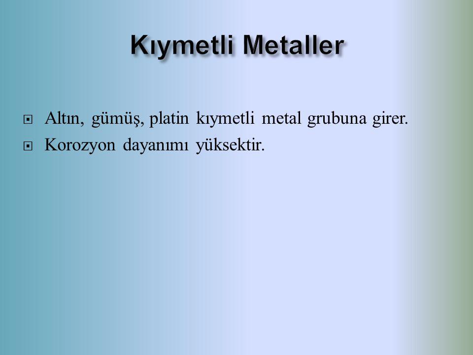 Kıymetli Metaller Altın, gümüş, platin kıymetli metal grubuna girer.