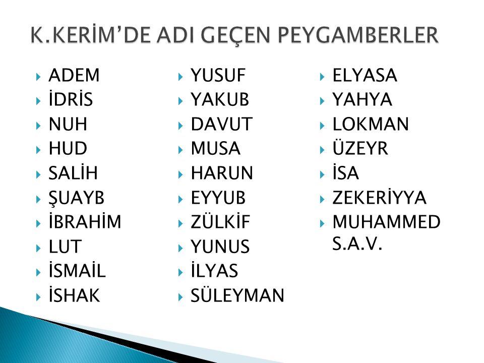 K.KERİM'DE ADI GEÇEN PEYGAMBERLER