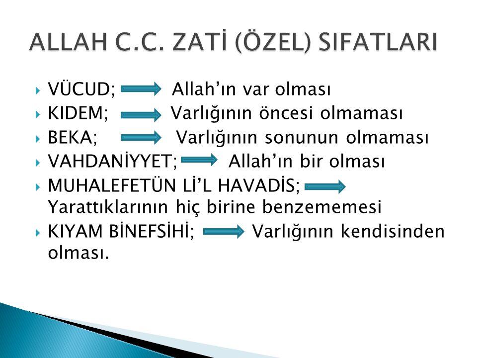 ALLAH C.C. ZATİ (ÖZEL) SIFATLARI