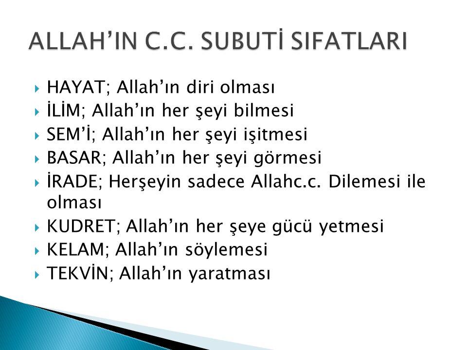 ALLAH'IN C.C. SUBUTİ SIFATLARI