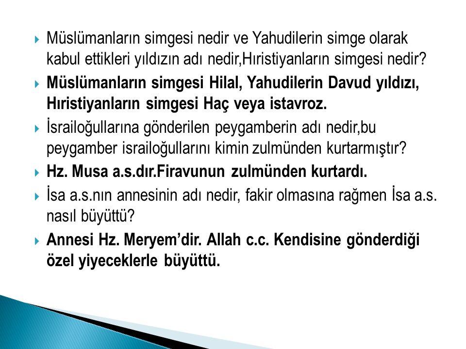 Müslümanların simgesi nedir ve Yahudilerin simge olarak kabul ettikleri yıldızın adı nedir,Hıristiyanların simgesi nedir