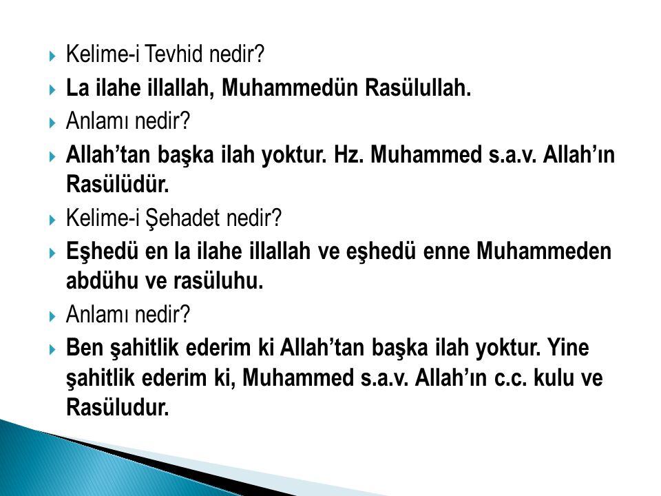 Kelime-i Tevhid nedir La ilahe illallah, Muhammedün Rasülullah. Anlamı nedir