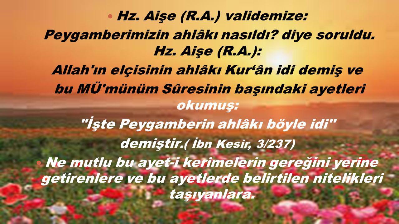 Hz. Aişe (R.A.) validemize: