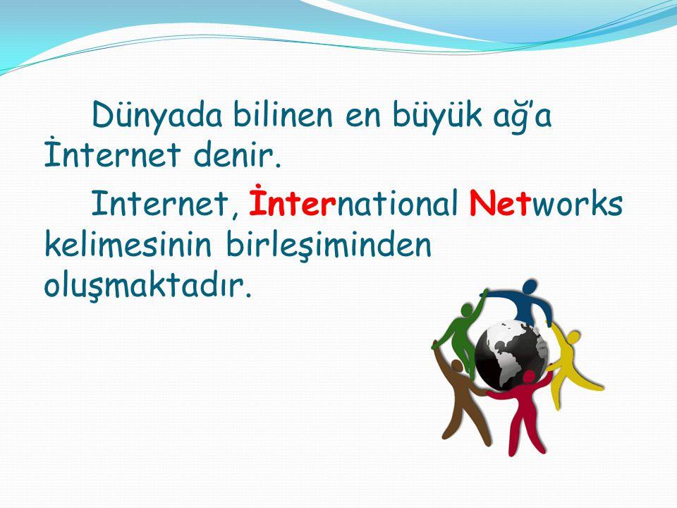 Dünyada bilinen en büyük ağ'a İnternet denir