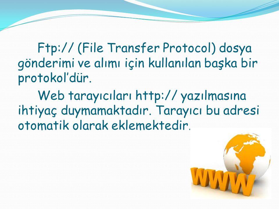 Ftp:// (File Transfer Protocol) dosya gönderimi ve alımı için kullanılan başka bir protokol'dür.