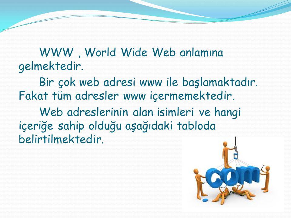 WWW , World Wide Web anlamına gelmektedir.