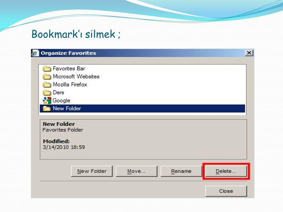Bookmark'ı silmek ;