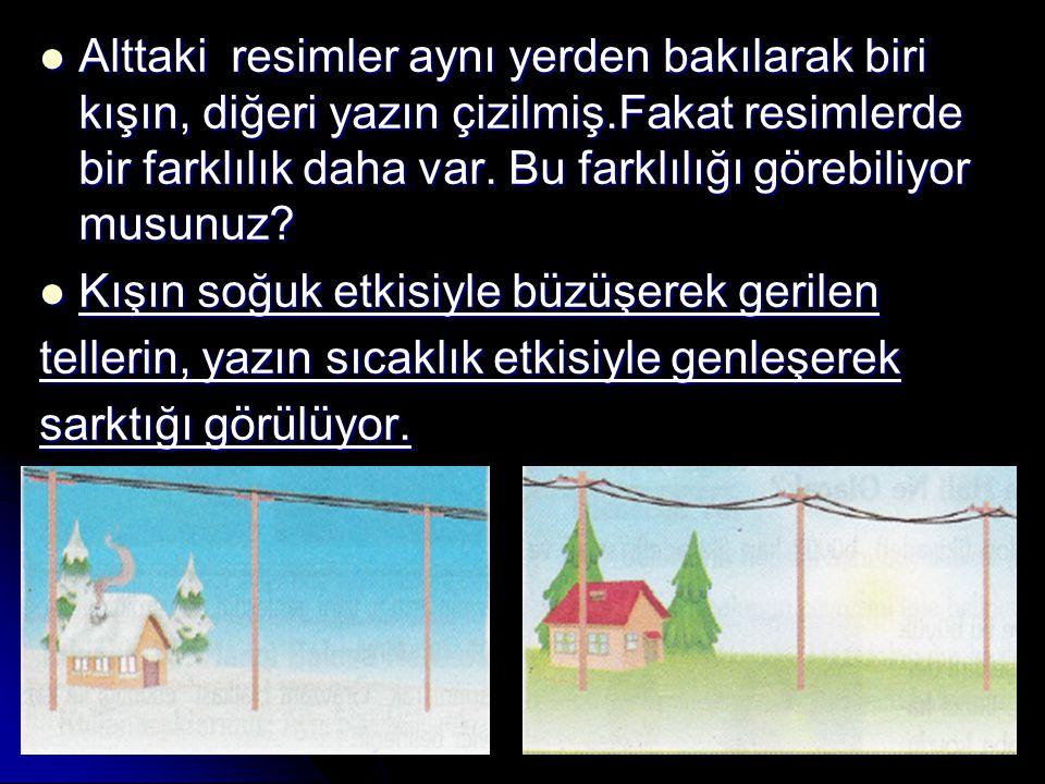 Alttaki resimler aynı yerden bakılarak biri kışın, diğeri yazın çizilmiş.Fakat resimlerde bir farklılık daha var. Bu farklılığı görebiliyor musunuz