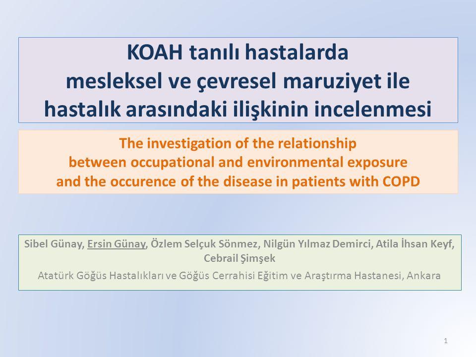 KOAH tanılı hastalarda mesleksel ve çevresel maruziyet ile hastalık arasındaki ilişkinin incelenmesi