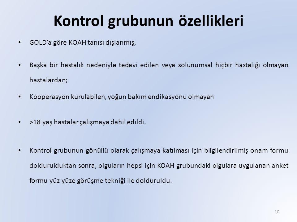 Kontrol grubunun özellikleri