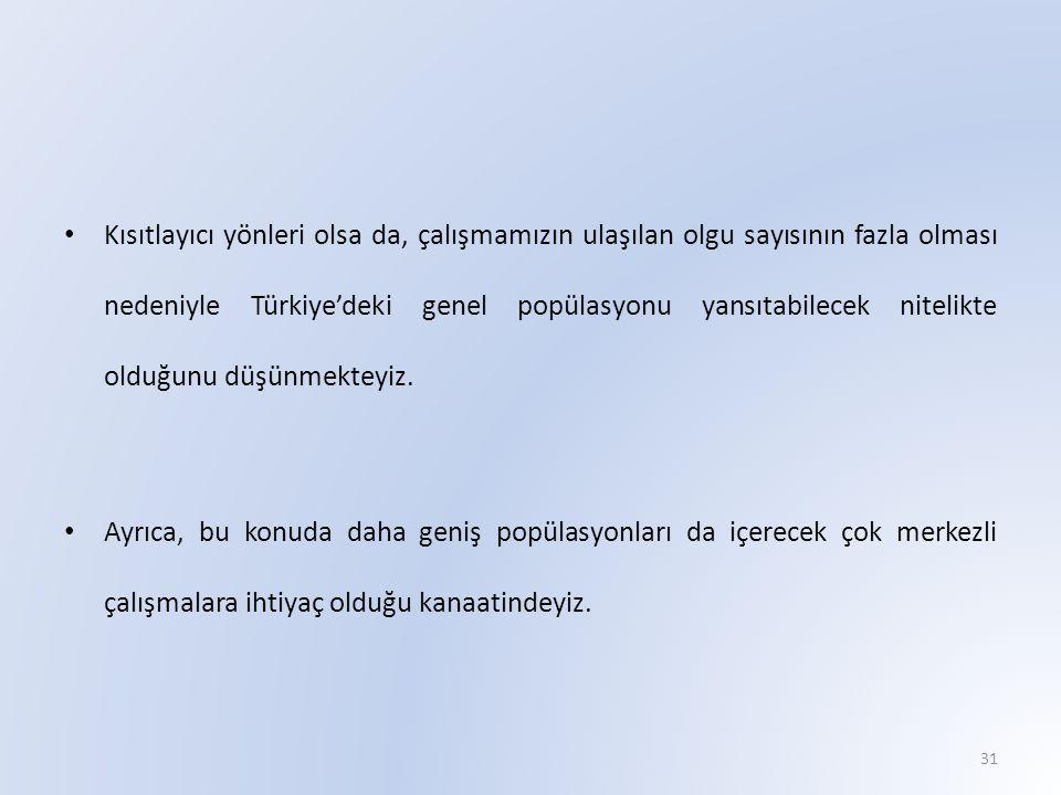 Kısıtlayıcı yönleri olsa da, çalışmamızın ulaşılan olgu sayısının fazla olması nedeniyle Türkiye'deki genel popülasyonu yansıtabilecek nitelikte olduğunu düşünmekteyiz.