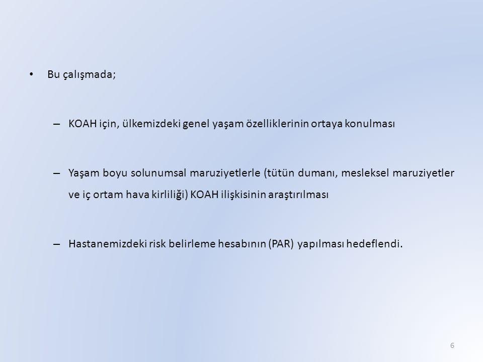Bu çalışmada; KOAH için, ülkemizdeki genel yaşam özelliklerinin ortaya konulması.