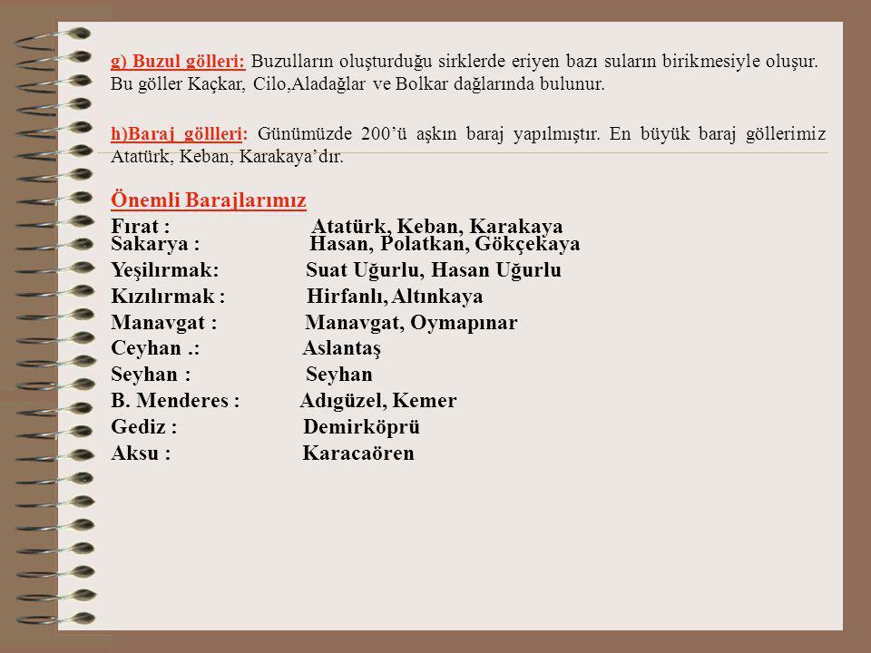 Fırat : Atatürk, Keban, Karakaya Sakarya : Hasan, Polatkan, Gökçekaya