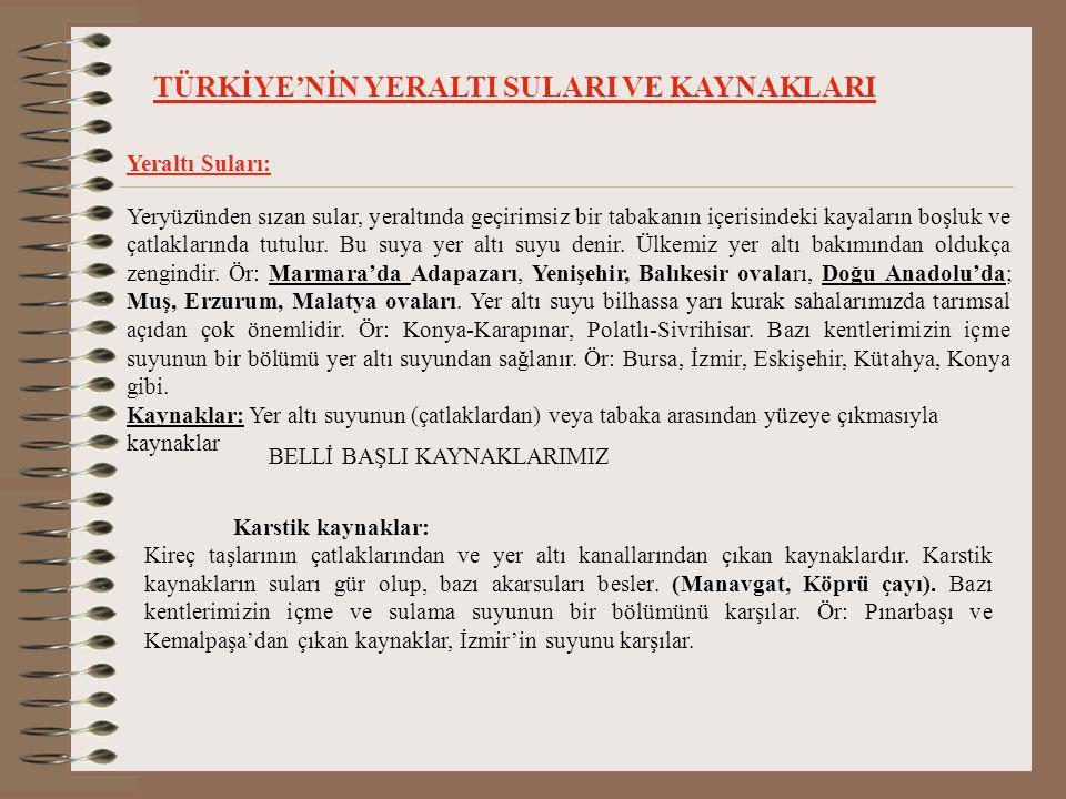 TÜRKİYE'NİN YERALTI SULARI VE KAYNAKLARI