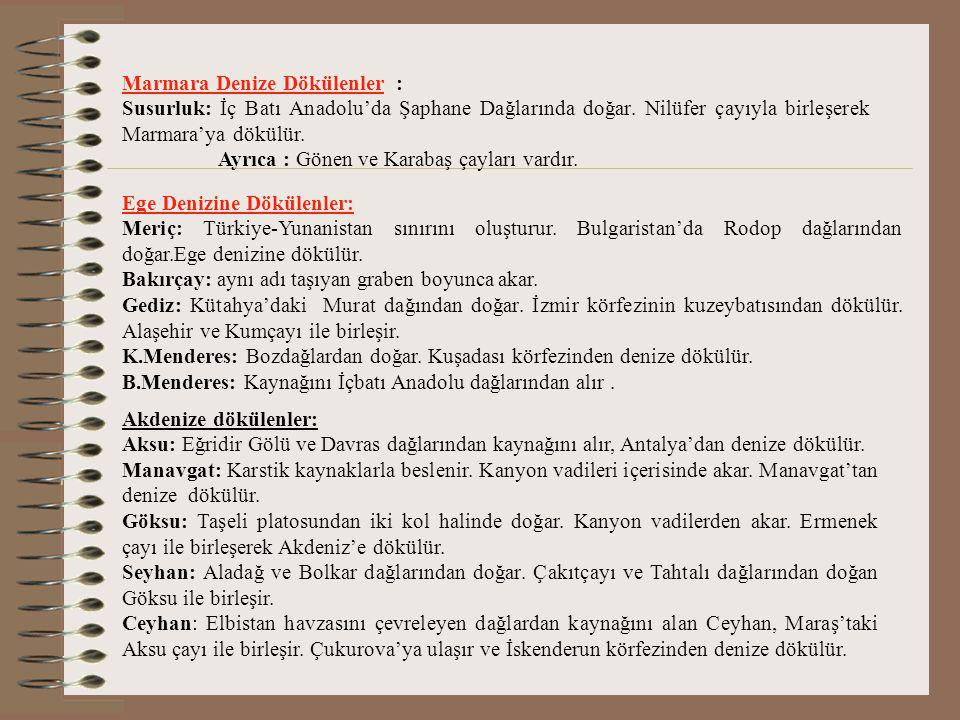 Marmara Denize Dökülenler :