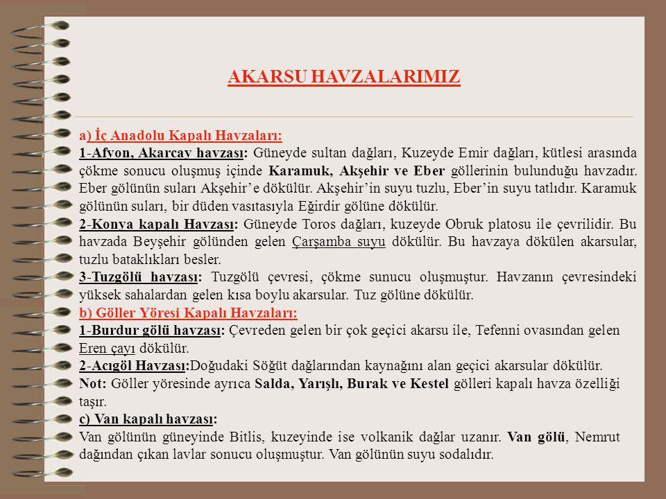 AKARSU HAVZALARIMIZ a) İç Anadolu Kapalı Havzaları: