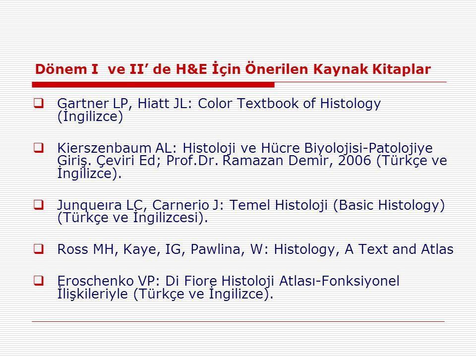 Dönem I ve II' de H&E İçin Önerilen Kaynak Kitaplar
