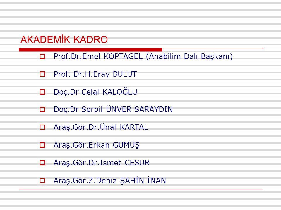 AKADEMİK KADRO Prof.Dr.Emel KOPTAGEL (Anabilim Dalı Başkanı)