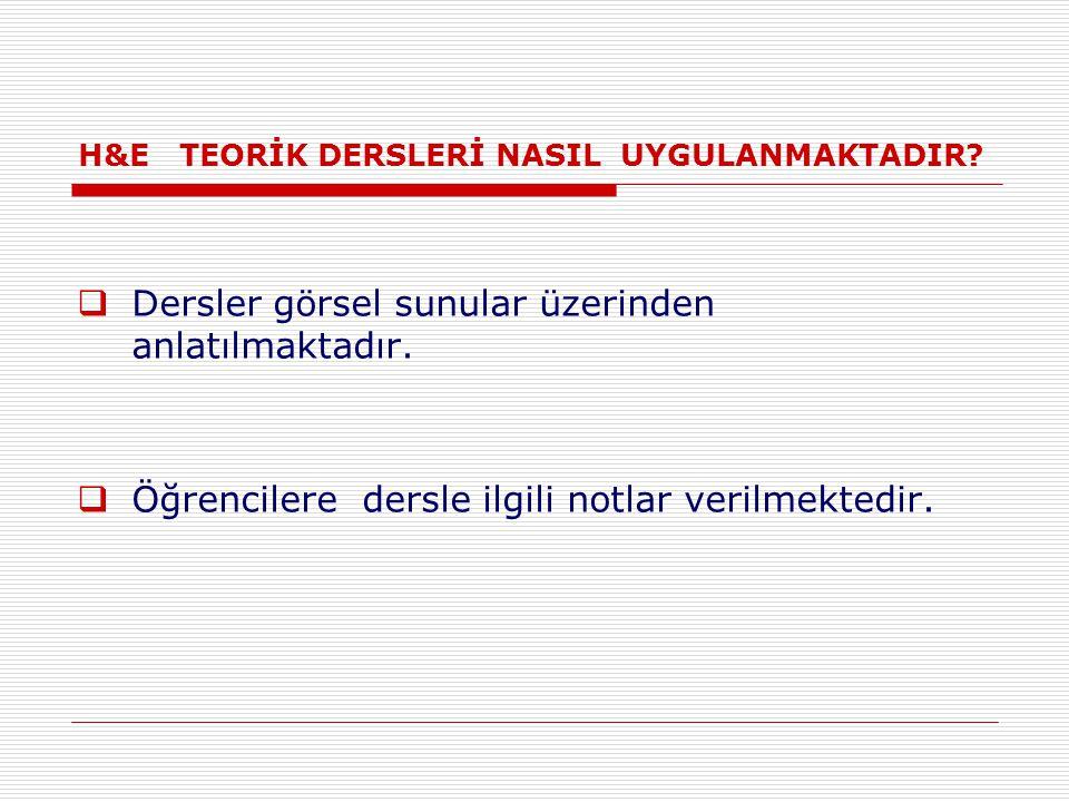 H&E TEORİK DERSLERİ NASIL UYGULANMAKTADIR